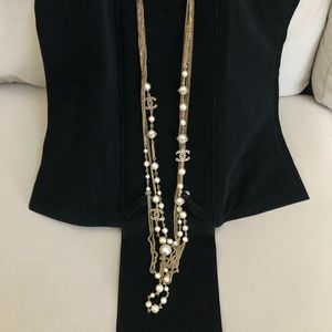 CHANEL GOLD AND PEARL MULTILAYER NECKLACE